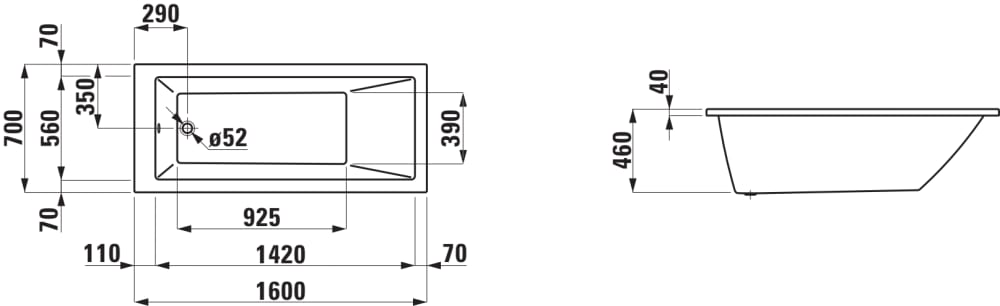 Vasca da bagno versione a incasso acrilico sanitario for Vasca da bagno dwg